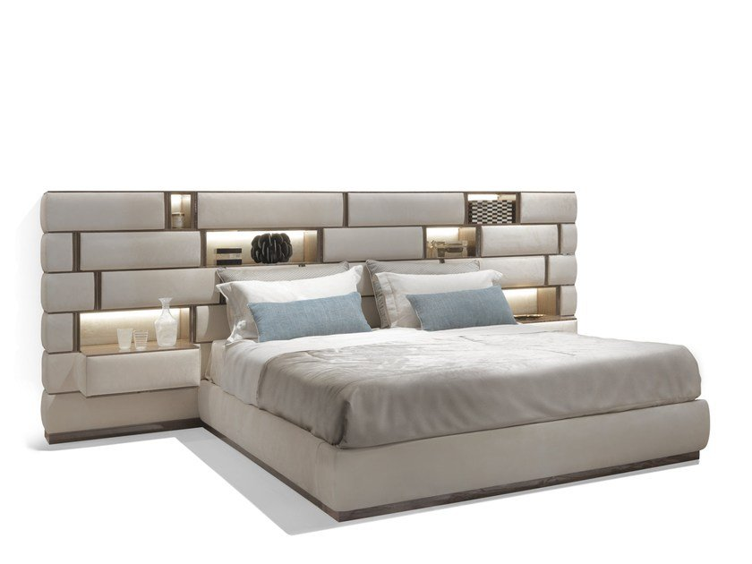 Upholstered fabric double bed EMOTION by Visionnaire