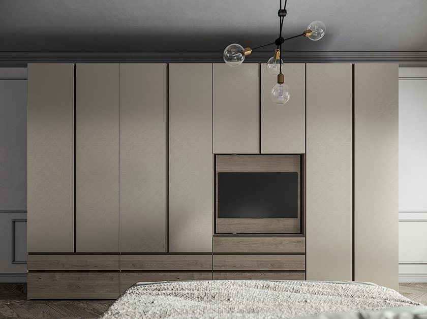 Lacquered wardrobe with drawers EMOTION UP EM04 by Dall'Agnese