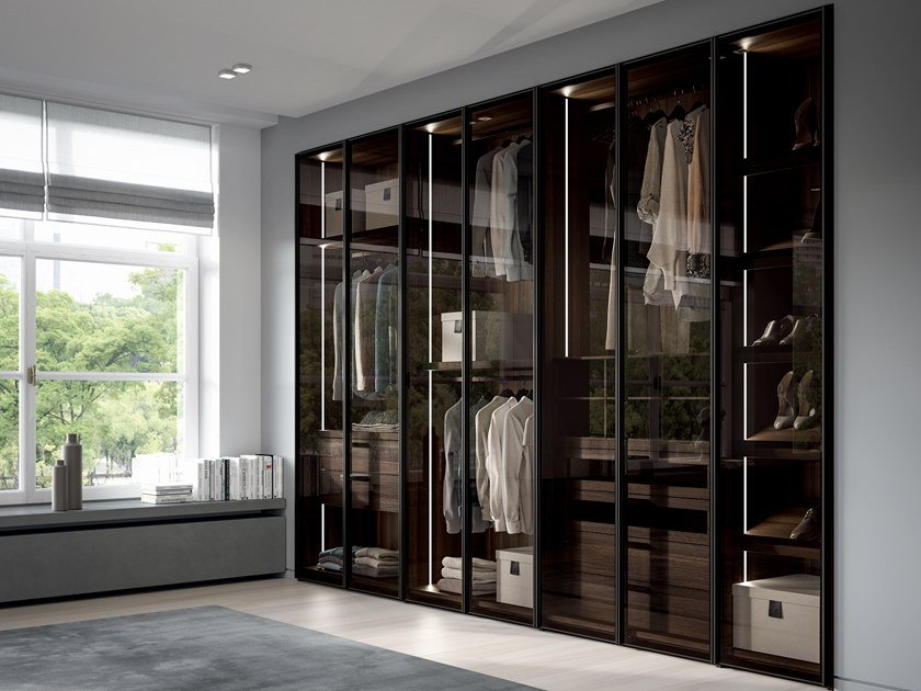 Built-in glass wardrobe with drawers EMOTION UP EM08 by Dall'Agnese