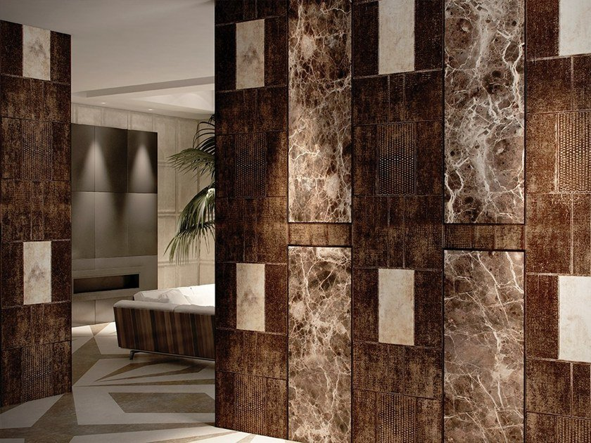 Wallpaper With Marble Effect Emperador Dark Androni