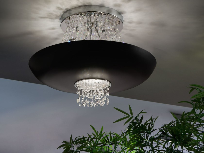 LED direct-indirect light painted metal ceiling lamp with Swarovski® crystals EMPIRE | Ceiling lamp by Masiero