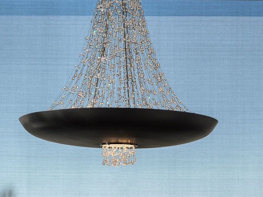 LED direct light painted metal pendant lamp with Swarovski® Crystals EMPIRE | Pendant lamp by Masiero