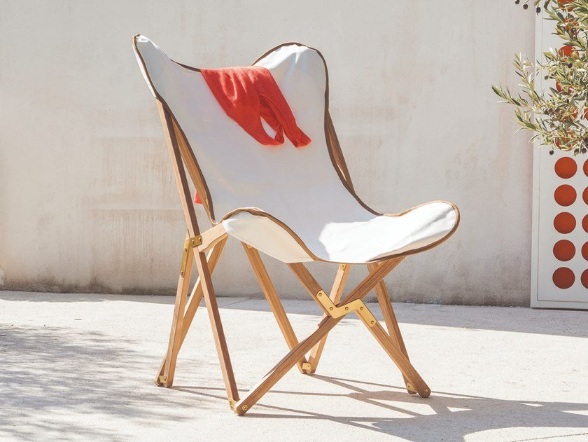 Folding armchair in teak and cotton EMY   Cotton easy chair by Unopiù