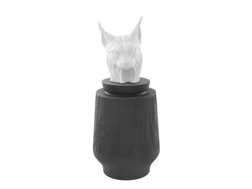 Porcelain storage box ENDANGERED - LYNX by Vista Alegre