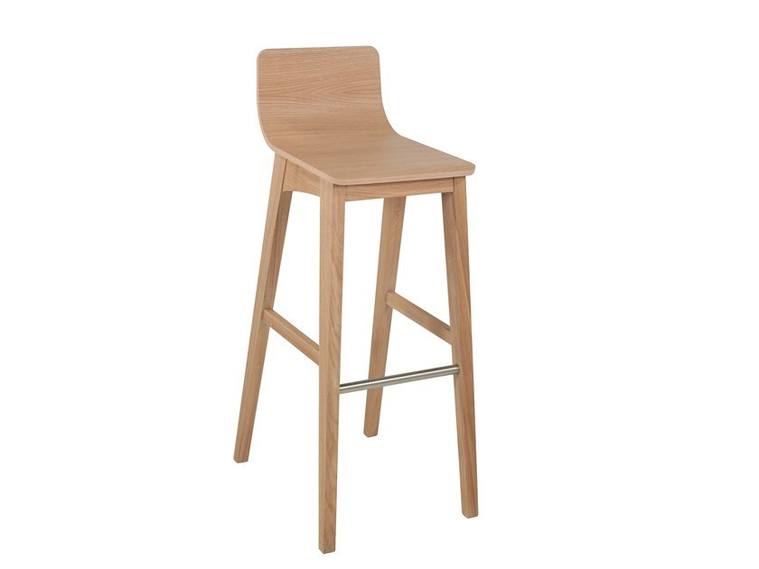 High wooden barstool ENOA   Wooden stool by Perrouin