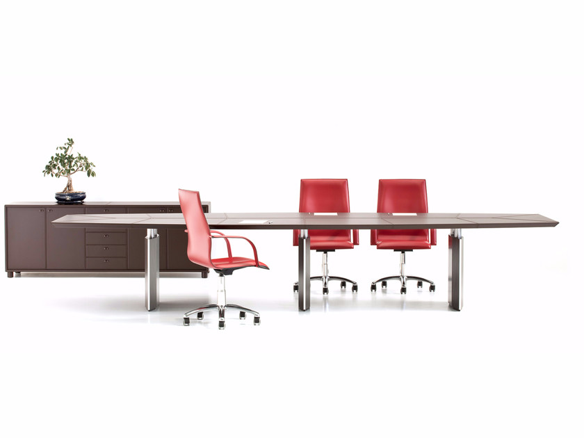 Rectangular tanned leather meeting table EPICO | Rectangular meeting table by Polflex