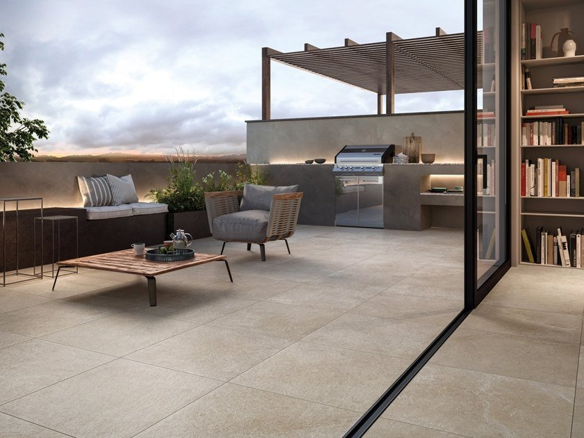 Porcelain stoneware outdoor floor tiles with stone effect EPIKA T20 by Supergres