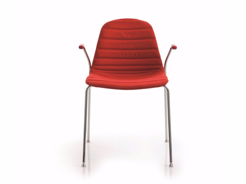 Upholstered stackable chair with armrests EPOCA | Fabric chair by Luxy