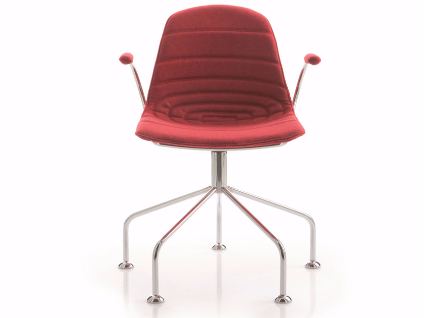 Upholstered trestle-based chair with armrests EPOCA | Trestle-based chair by Luxy