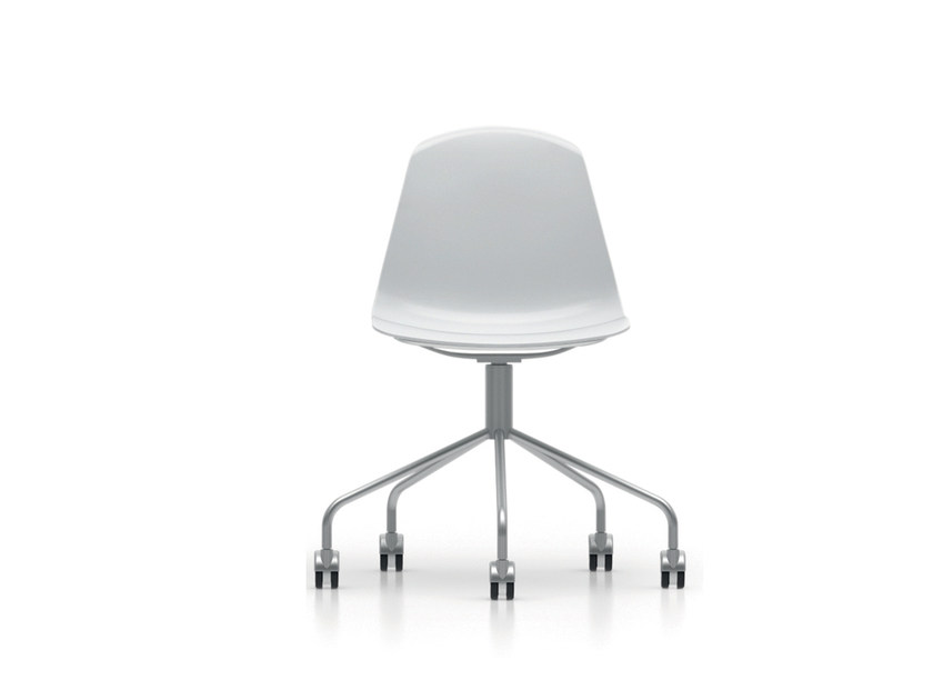 Trestle-based polypropylene chair with casters EPOCA | Trestle-based chair by Luxy