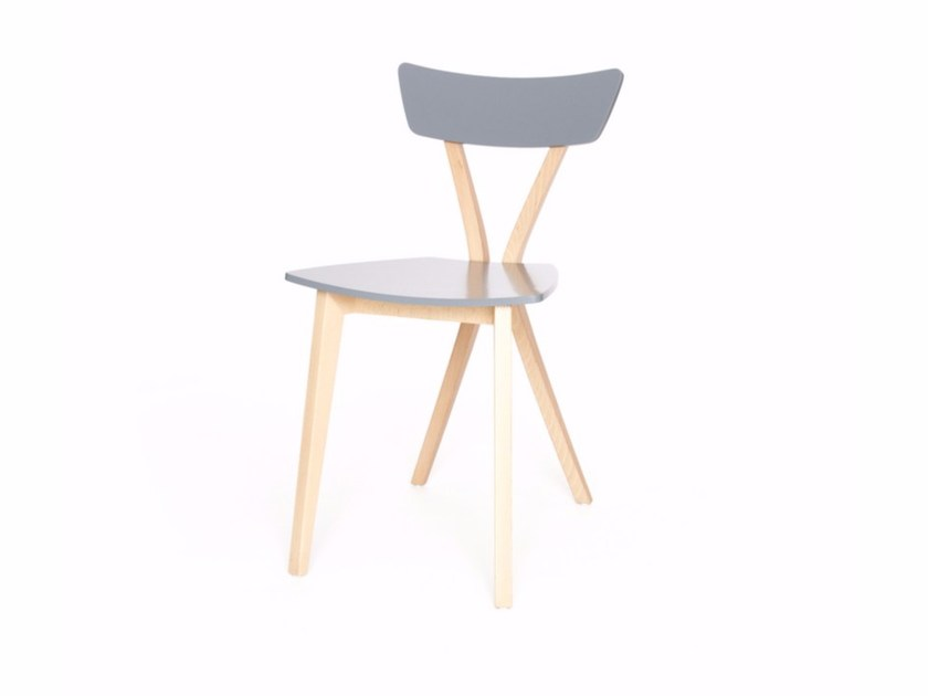 Lacquered wooden chair EQUIS M by Z-Editions