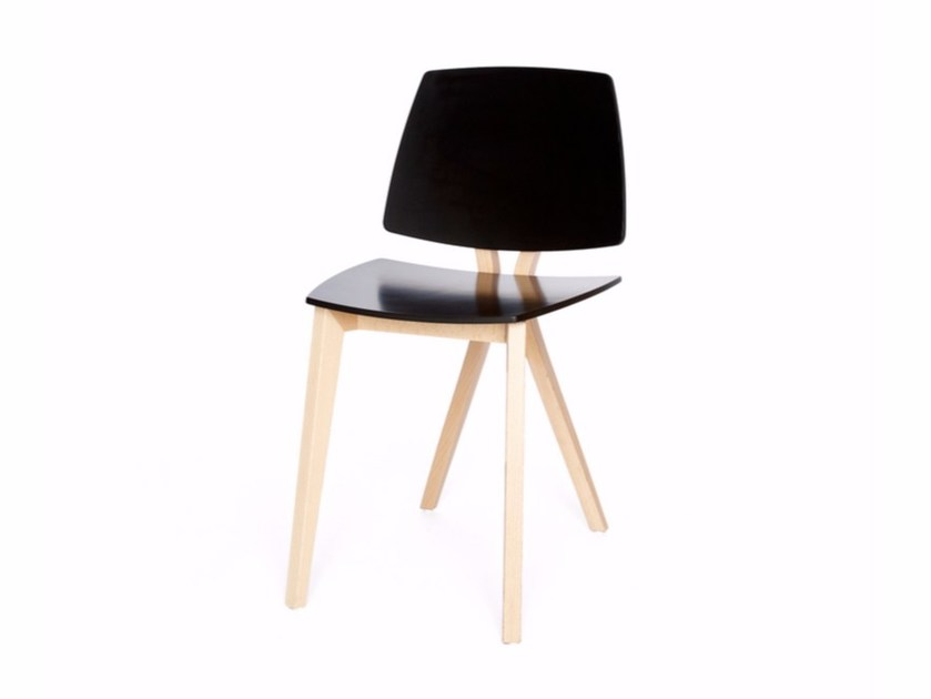 Lacquered wooden chair EQUIS S by Z-Editions