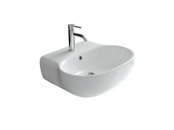 Wall-mounted ceramic washbasin ERGO - 70 CM   Wall-mounted washbasin by GALASSIA