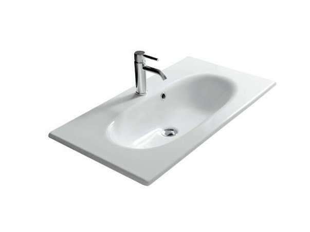 Rectangular ceramic washbasin ERGO - 85 CM by GALASSIA