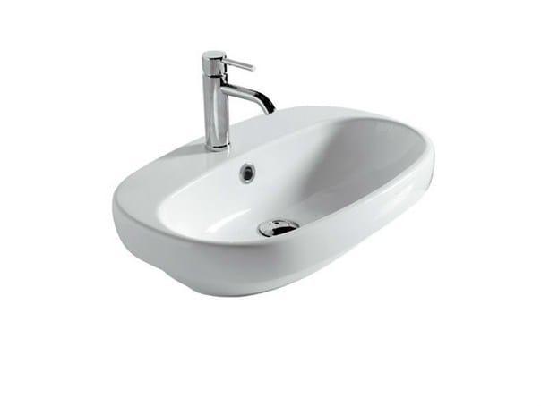 Inset oval ceramic washbasin ERGO 60 CM - | Inset washbasin by GALASSIA