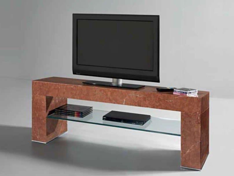 Rojo Alicante marble TV cabinet ERMETE   TV cabinet by International Marmi