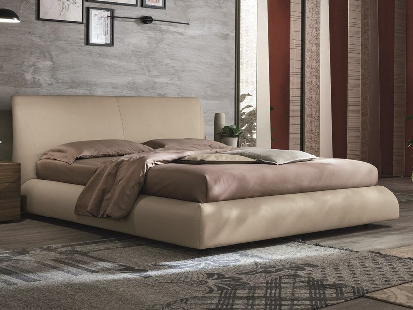 Upholstered leather double bed EROS | Leather bed by Gruppo Tomasella