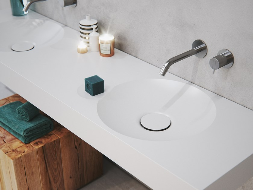 Double round washbasin with integrated countertop EROSION-03 DUAL by Le Projet