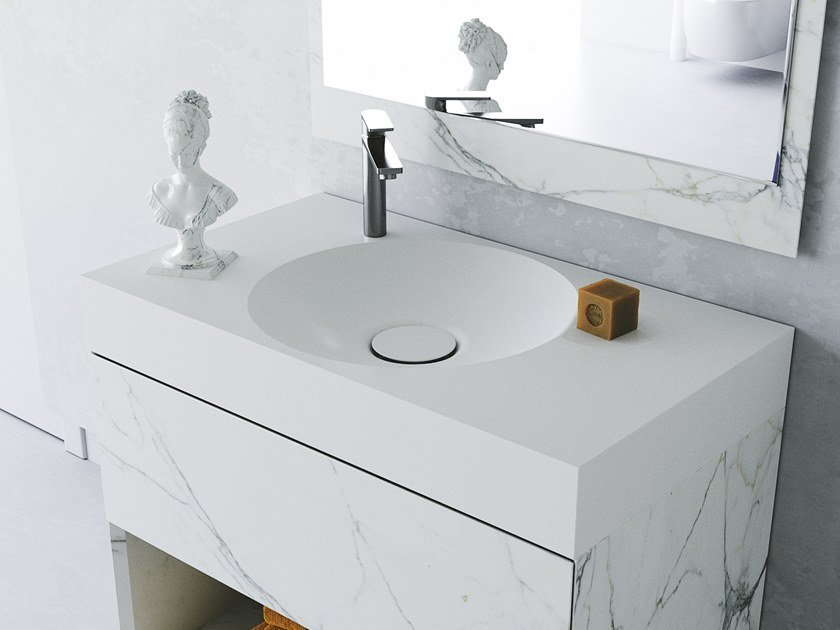 Round Meridian Solid Surface® washbasin with integrated countertop EROSION-03 by Le Projet