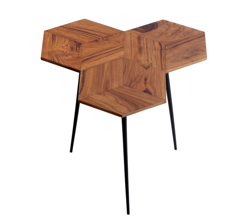 Low hexagonal teak coffee table ESAGONO by ALANKARAM
