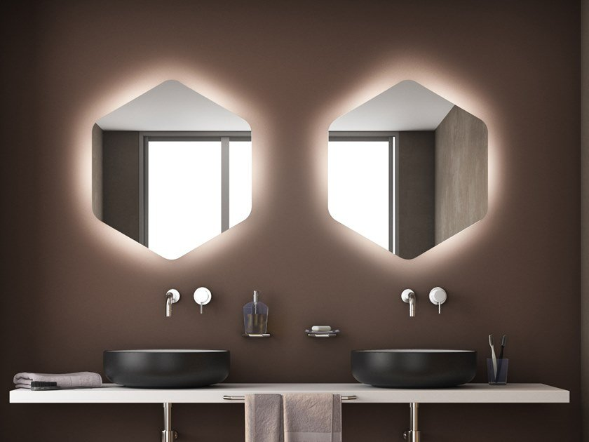 Wall-mounted mirror with integrated lighting ESAGONO LED AMBIENTE by KOH-I-NOOR