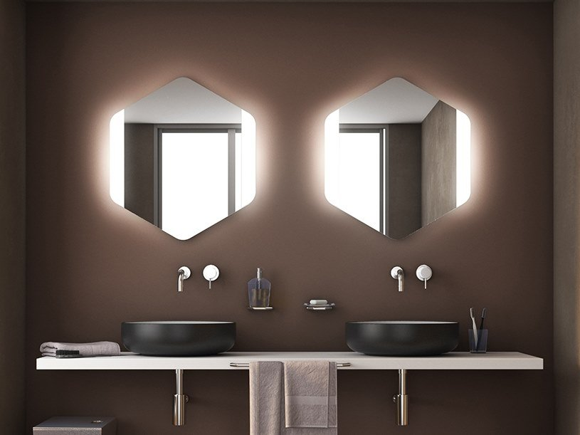 Wall-mounted mirror with integrated lighting ESAGONO LED FRONTALE by KOH-I-NOOR