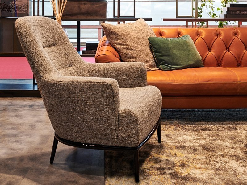 Fabric armchair with armrests ESME | Fabric armchair by Borzalino