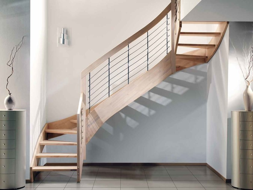 Wooden Open staircase with lateral stringers ESPERIA CHROME by MOBIROLO