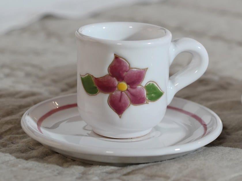 Ceramic espresso cup with saucer PRIMAVERA ROSA | Espresso cup by Cerasarda