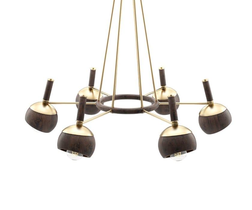 Handmade walnut pendant lamp ESSEN by Wood Tailors Club