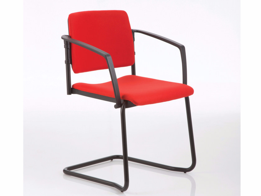 Cantilever upholstered chair with armrests ESSENZIALE | Cantilever chair by Luxy