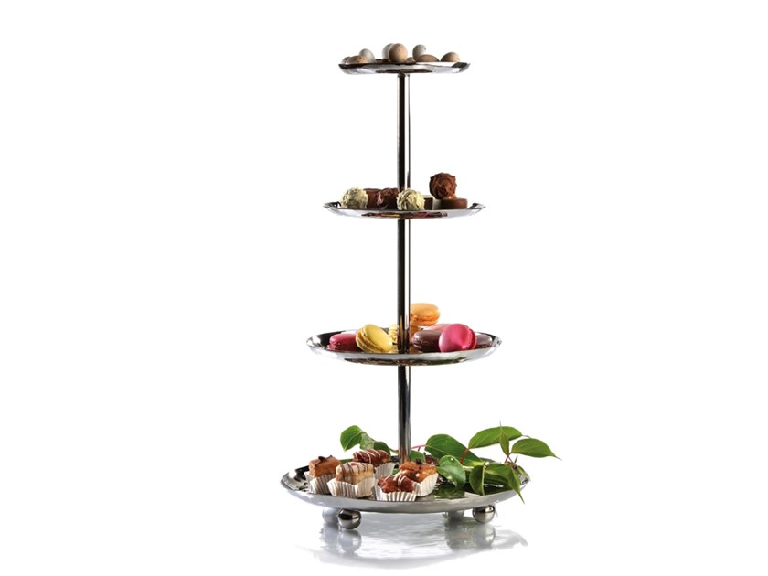 Hammered stainless steel etagere ETAGERE | Tray by Zieher