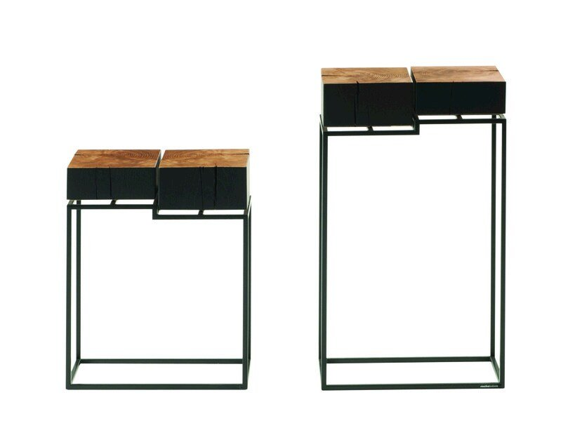 Square steel and wood side table ETNA | Coffee table by ROCHE BOBOIS