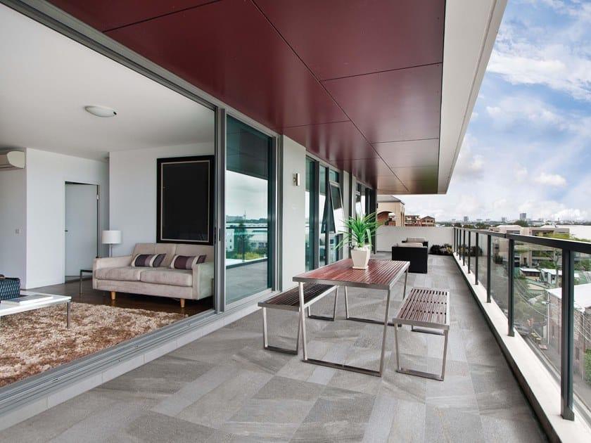 Vehicular porcelain stoneware outdoor floor tiles with stone effect ETNA by GRANULATI ZANDOBBIO