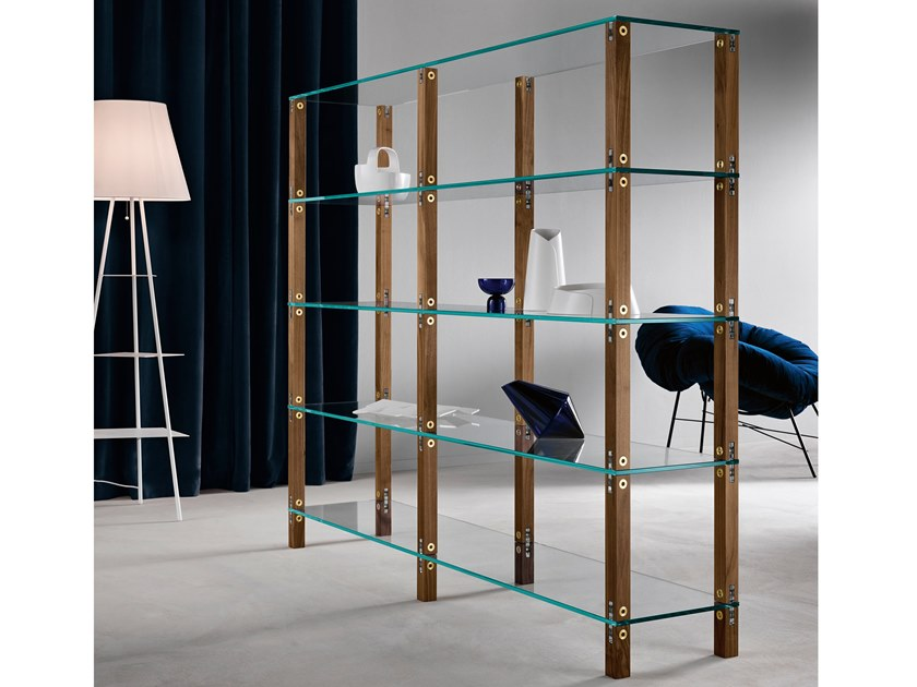 Open modular wood and glass bookcase EUCLIDE | Modular bookcase by Tonelli Design