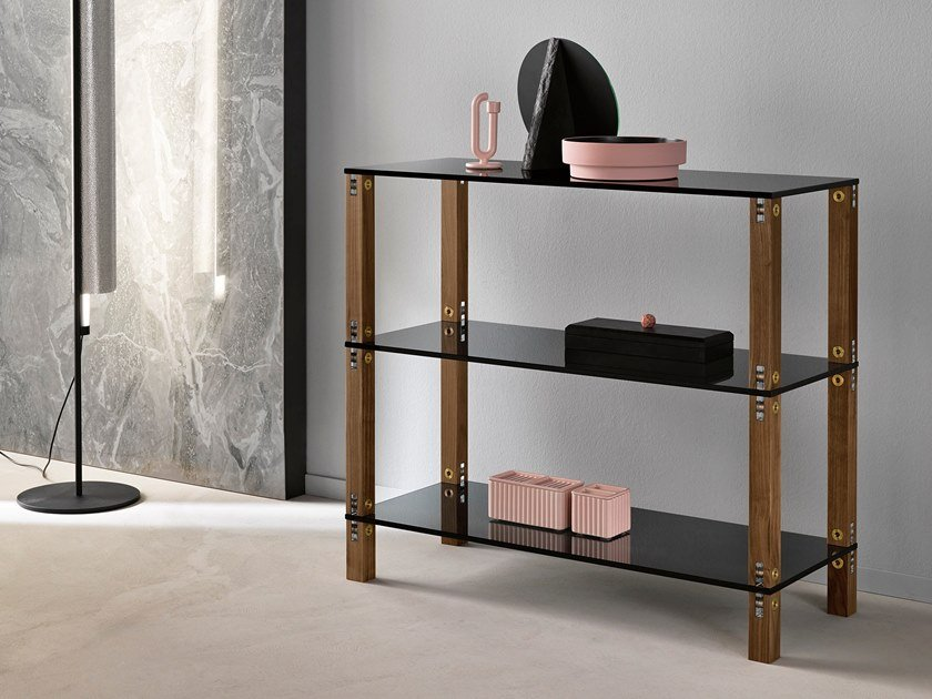 Open modular wood and glass shelving unit EUCLIDE | Modular shelving unit by Tonelli Design