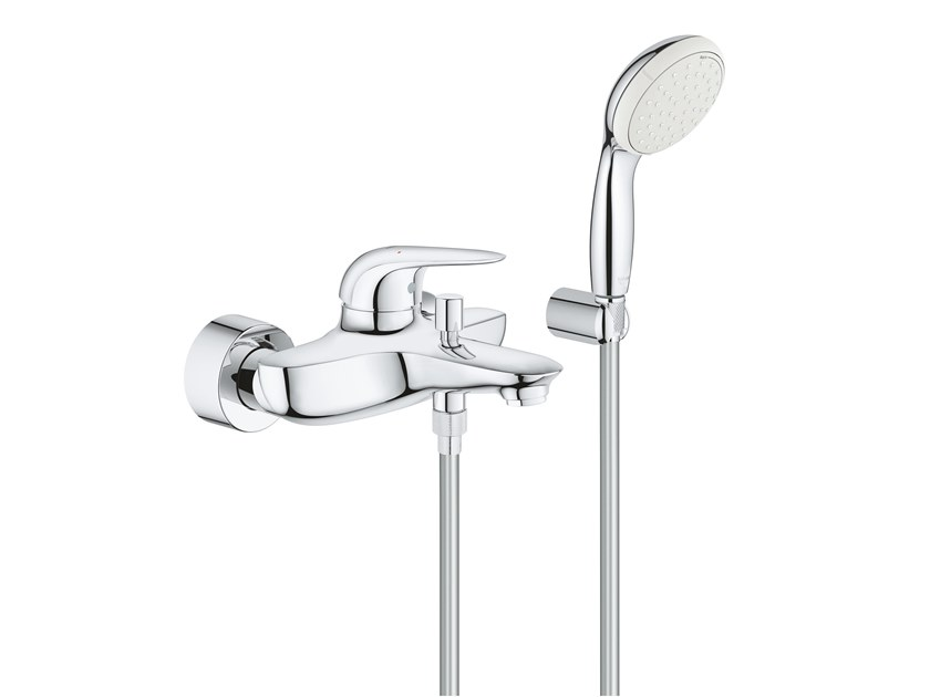 Wall-mounted bathtub mixer with hand shower EUROSTYLE NEW 2372930A | Bathtub mixer by Grohe