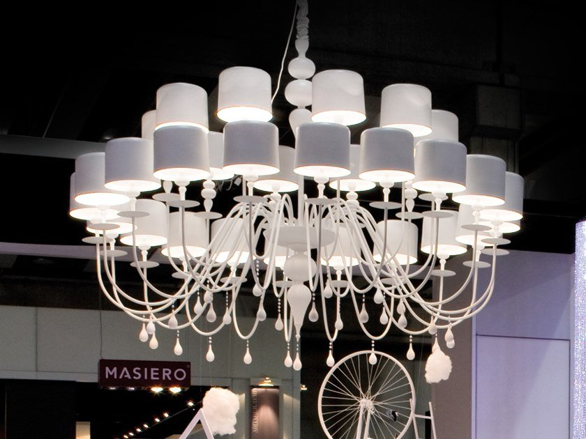 Lampadario a luce diretta in alluminio EVA S20+10 by Masiero