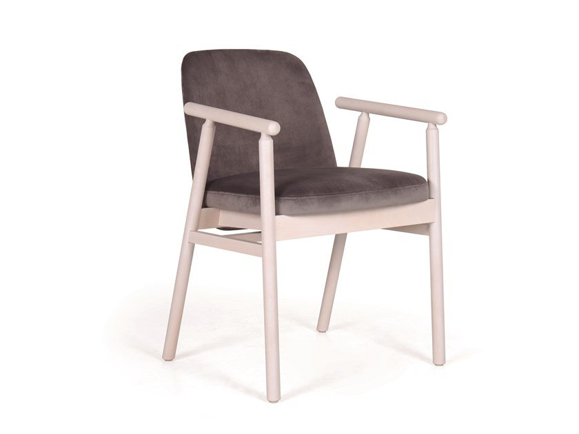 Upholstered chair with armrests EVE CB 01 by Fenabel