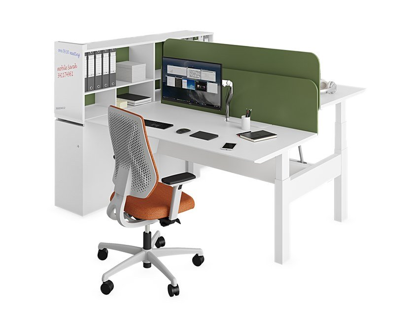 Height-adjustable multiple office workstation with shelves EVO HP - JOINT by ESTEL GROUP