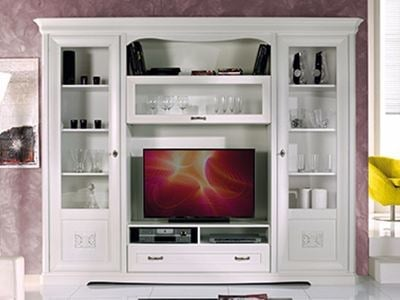 Solid wood TV wall system EXCLUSIVE | Lacquered storage wall by Arvestyle
