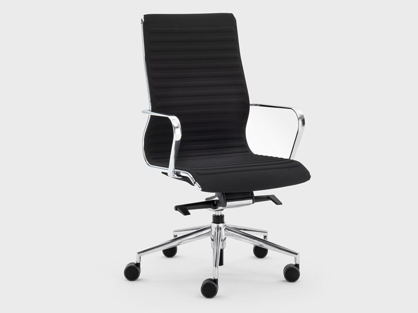 Trestle-based fabric executive chair with castors OMEGA | Executive chair by Viganò
