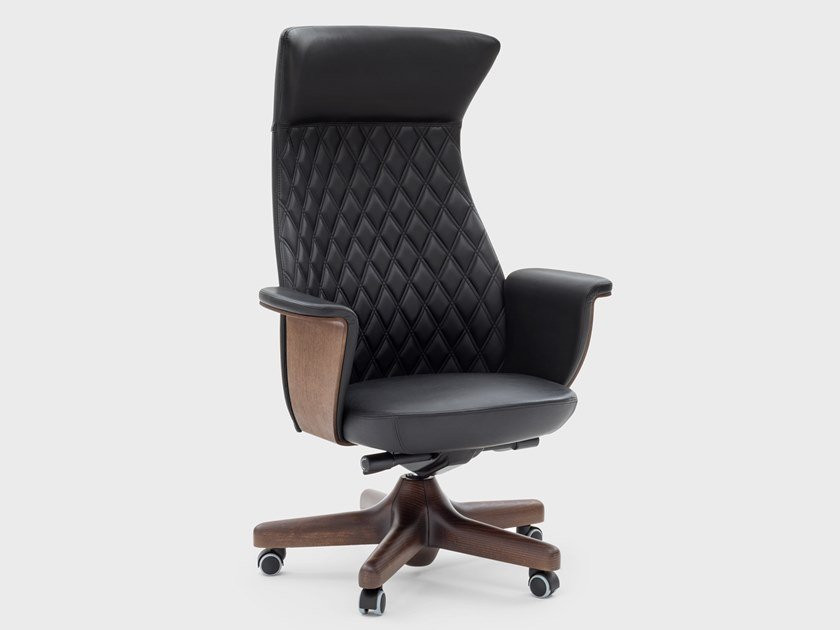 Leather executive chair with 5-spoke base with castors CHARME | Executive chair by Viganò