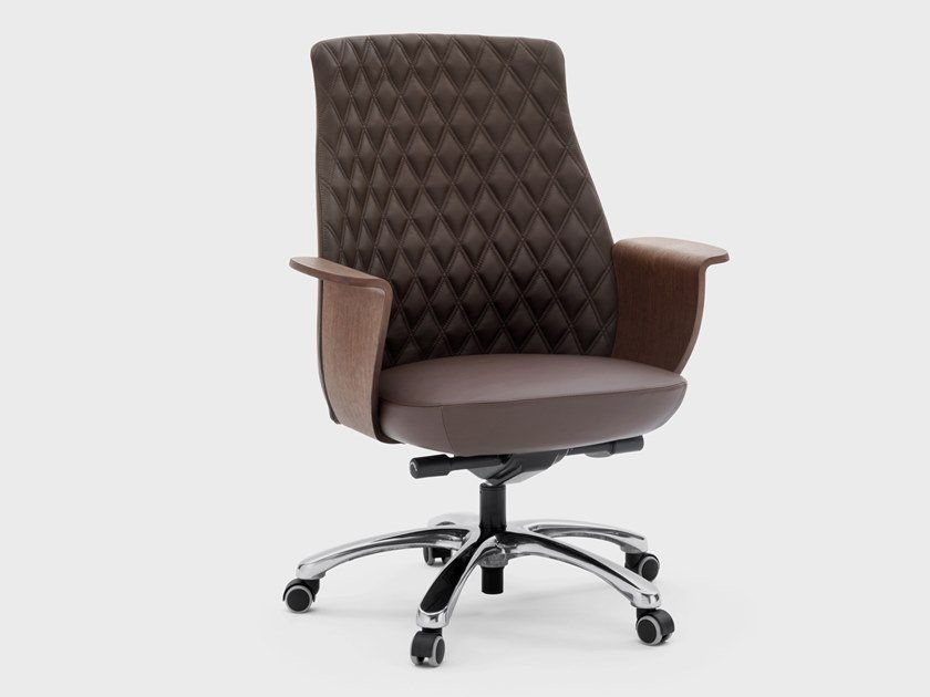 Medium back leather executive chair CHARME | Executive chair with castors by Viganò