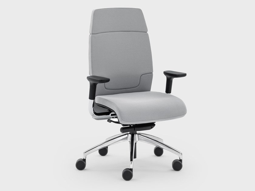 Medium back leather executive chair with castors MADAM OFFICE | Executive chair with armrests by Viganò