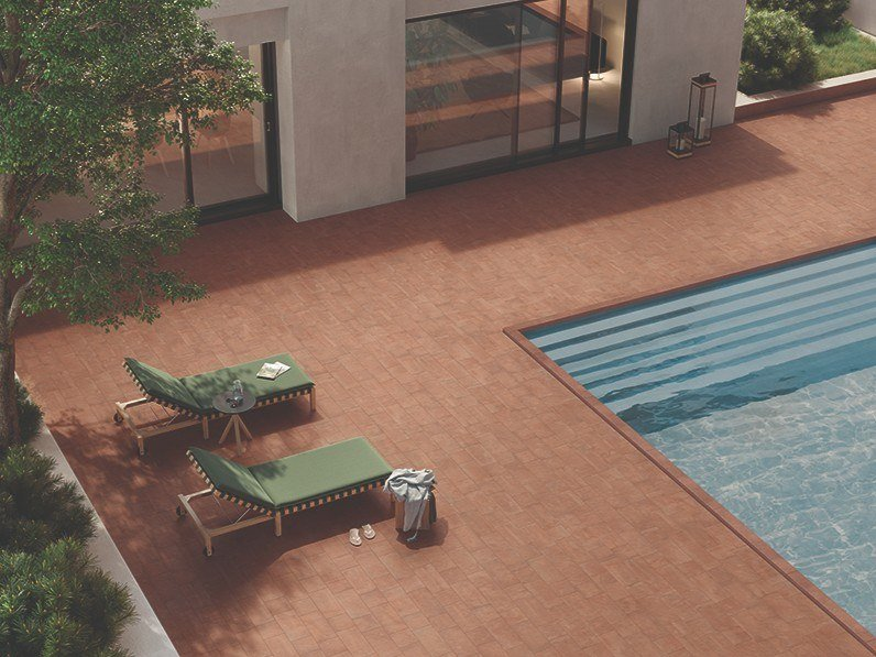 Porcelain stoneware outdoor floor tiles with terracotta effect EXTERNA COTTO MATTONE by EmilCeramica by Emilgroup
