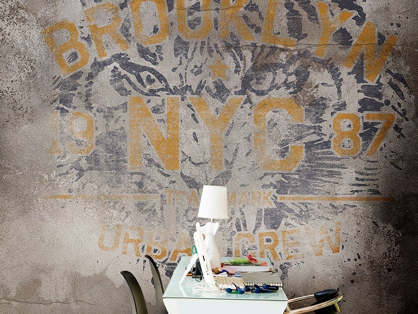 Wall effect rubber writing wallpaper EYE OF THE TIGER by Tecnografica Italian Wallcoverings