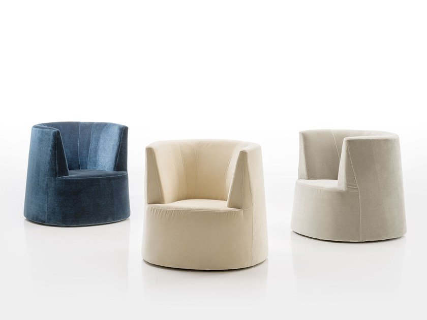 Fabric armchair with armrests POWDER | Fabric armchair by brühl