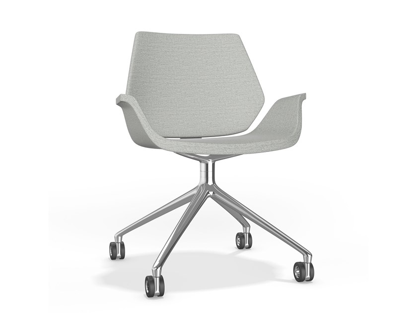 Swivel trestle-based fabric chair with castors CENTURO VI | Fabric chair by Casala