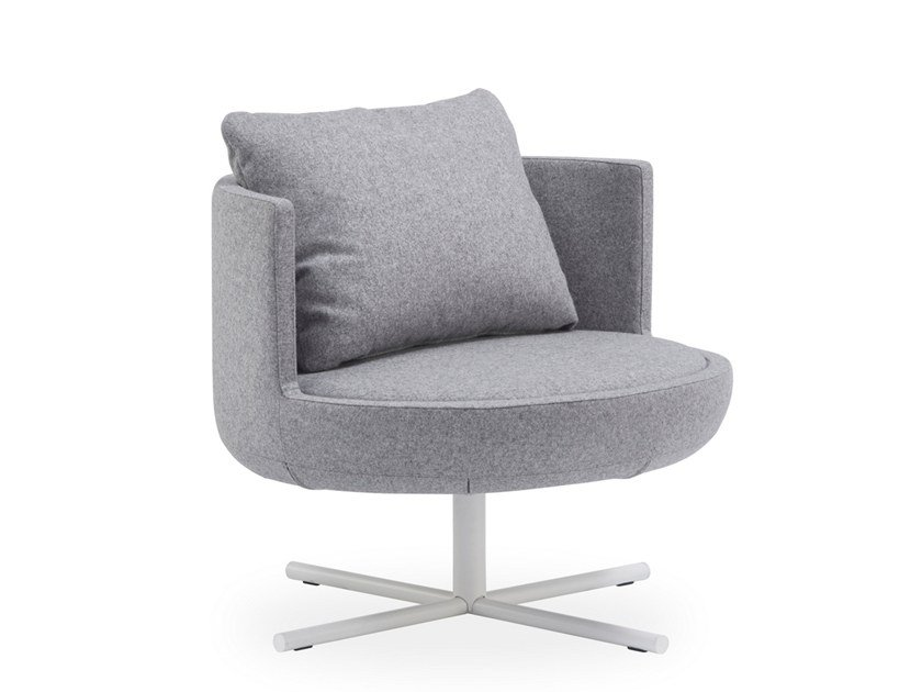 Fabric easy chair with 4-spoke base ROUND | Fabric easy chair by B&T Design